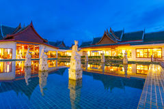 Oriental resort architecture at dusk stock photo
