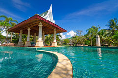 Oriental resort in Thailand. Tropical resort with swimming pool scenery in Thailand Royalty Free Stock Photos