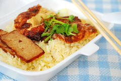Oriental roasted pork rice Royalty Free Stock Images
