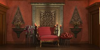 Oriental room with flowers Royalty Free Stock Photography