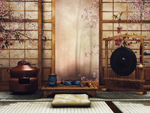 Oriental room with a tea set. And window facing a forest stock illustration