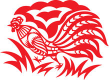 Oriental Rooster. An oriental decorative paper cut of a rooster royalty free illustration