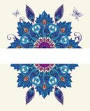 Oriental round floral paisley pattern with peacock feathers Stock Photos