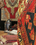 Oriental rugs. An exposition of many coloured oriental rugs Royalty Free Stock Images