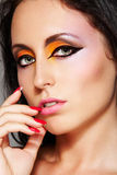 Oriental runway eyes make-up. Close-up chic woman Stock Photos