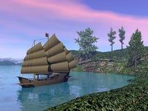 Oriental Sailing Junk Royalty Free Stock Image