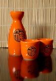 Oriental sake. Set for oriental sake with reflection Stock Photos