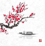 Oriental sakura cherry tree in blossom and fishing boat in water. Traditional oriental ink painting sumi-e, u-sin, go. Hua. Contains hieroglyph - happiness vector illustration
