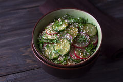 Oriental salad with radishes, cucumber, cilantro and sesame seed Royalty Free Stock Photography