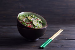 Oriental salad with radishes, cucumber, cilantro and sesame seed Royalty Free Stock Image
