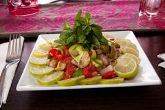 Oriental salad with slices of lemon Stock Photos