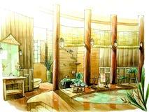 Oriental, salle de bains classique asiatique de type Photographie stock libre de droits