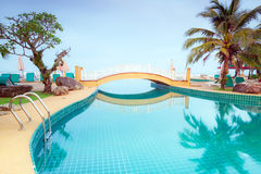 Oriental scenery at the pool. In Thailand Stock Photos