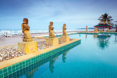 Oriental scenery at the pool. In Thailand Stock Images