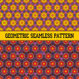 Oriental seamless geometric pattern. With orange star Vector Illustration