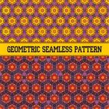 Oriental seamless geometric pattern. With orange star Stock Image