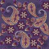 Oriental seamless paisley pattern on a blue background. Decorative ornament backdrop for fabric, textile, wrapping paper.  Royalty Free Stock Images