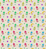 Oriental Seamless Pattern with Arabic Lamps, Crescents, Stars stock illustration