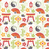 Oriental seamless pattern with asian symbols Royalty Free Stock Photos