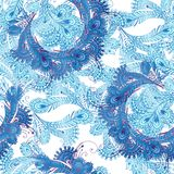 Oriental seamless pattern in blue tones. Vintage flowers background. Decorative ornament backdrop for fabric, textile, wrapping p royalty free illustration