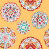Oriental seamless pattern with circle ornaments. Oriental lace seamless background with circle ornaments Royalty Free Stock Image