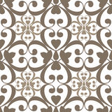 Oriental seamless pattern damask arabesque and floral brown elem Royalty Free Stock Image