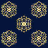 Oriental seamless pattern. Gold floral ornament on dark blue background. Vector, Digital illustration, Hand Drawn. For Holiday Art, Print, Fashion, Textile Royalty Free Stock Photography