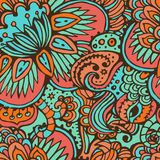 Oriental seamless pattern. Hand drawn fantasy seamless pattern in oriental style. Endless authentic background Stock Images