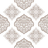 Oriental seamless pattern of mandalas. Vector black and white background. Islamic traditional ornament Royalty Free Stock Photo