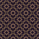 Oriental seamless pattern of purple and gold. Thin Gold Line in the Islamic style of ornament. Stock Photography