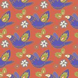 Oriental Seamless Pattern FOLK ORNAMENT RED 2 Color Vector Illustration Stock Photography