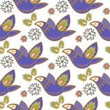 Oriental Seamless Pattern FOLK ORNAMENT WHITE 3 Color Vector Illustration Royalty Free Stock Photography