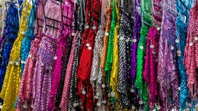 Oriental sequined dress. Oriental sequined colorful dress in a Bazar Turkey Europe stock images
