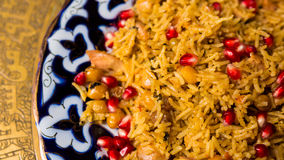 Oriental shah pilaf, pilaw, plov, rice with meat Royalty Free Stock Images