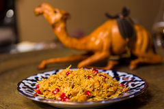 Oriental shah pilaf, pilaw, plov, rice with meat Royalty Free Stock Photos