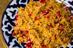 Oriental shah pilaf, pilaw, plov, rice with meat Stock Photo