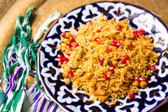 Oriental shah pilaf, pilaw, plov, rice with meat Stock Images