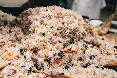 Oriental shah pilaf, pilaw, plov, rice with meat in pastry filo, delicious fragrant spicy dish stock images
