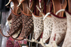 Oriental shoes. Shoes in arabian style, market of Dubai Royalty Free Stock Photo