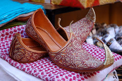 Oriental Shoes. At a market Stock Photo