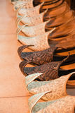 Oriental shoes. Displayed for sale Stock Image