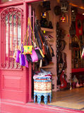 Oriental shop. A colorful shop with bags and ethnic furniture Royalty Free Stock Images