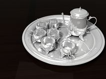 Oriental Silver Coffee Set Stock Photos
