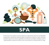 Oriental spa procedures for health and beauty promotional banner. Massage with hot stones, organic masks, soft lotions and aromatic candle cartoon flat vector Stock Photos