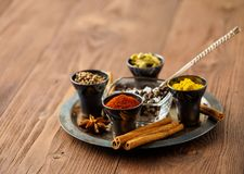 Oriental spice set - coriander, red pepper, turmeric, cinnamon,. Star anise, rosemary various seasonings in metall cups, on brown wooden table, side view, mcro Royalty Free Stock Images