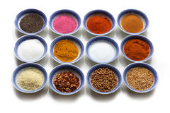 Oriental Spices. In the bows over  white background Royalty Free Stock Photos