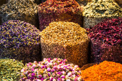 Oriental spices on display at spice market in Middle East. Closeup of spices at arabic spice market Stock Photography
