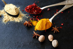 Oriental spices and the old background Stock Photo