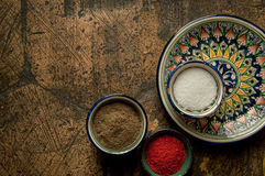 Oriental spices on an old paving stone Royalty Free Stock Image