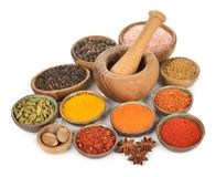 Oriental spices and seasonings. On a white background stock photo